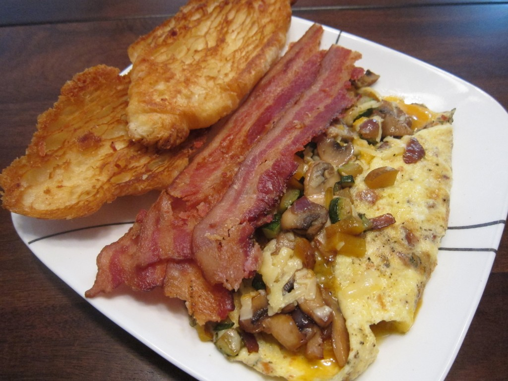 Sunday Brunch: Leftovers Omelette with Bacon and Grilled Croissants